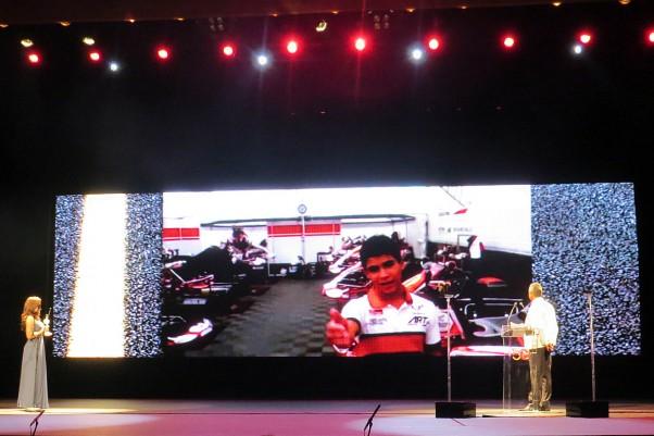 Foto: Flávio Quick - O vídeo de Serginho foi exibido em um grande telão no palco da premiação.