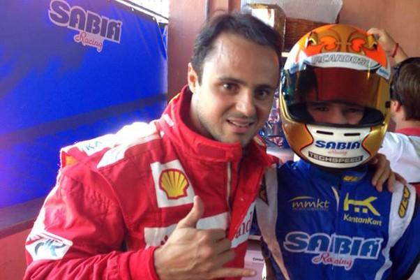 Felipe Massa e Pedro Cardoso no box da Sabiá Racing